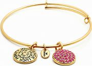 Ladies Chrysalis Gold Plated Love Good Fortune October Pink Tourmaline Crystal Expandable Bangle CRBT0110GP