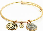 Ladies Chrysalis Gold Plated Ambition Good Fortune December Blue Topaz Crystal Expandable Bangle CRBT0112GP