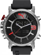 Mens Puma PU91137 ULTRASIZE ANA-DIGITAL - sil red Alarm Chronograph Watch PU911371001