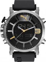 Mens Puma PU91137 ULTRASIZE ANA-DIGITAL - sil gold Alarm Chronograph Watch PU911371002