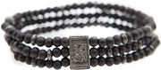 Mens Icon Brand Base metal Triple Bead Bracelet B1169-BR-BLK