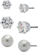 Ladies Anne Klein Silver Plated Set of 3 Stud Earrings 60458086-G03