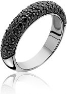 Ladies Zinzi Sterling Silver Black CZ Ring Size O ZIR633